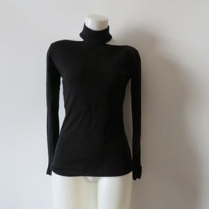 BAILEY/44 BLACK COLD SHOULDER SLEEVE SWEATER SZ S